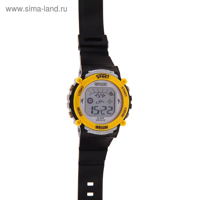 Часы наручные мужские электронные функциональные на силиконовом ремешке, цвет черный с желтыми вставками