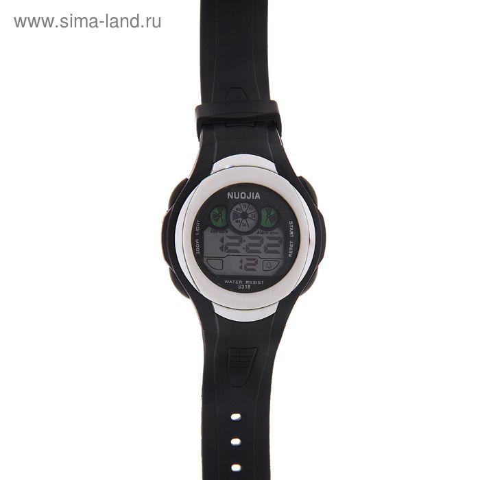 Часы наручные мужские электронные функциональные на силиконовом ремешке, круглый циферблат, цвет черный