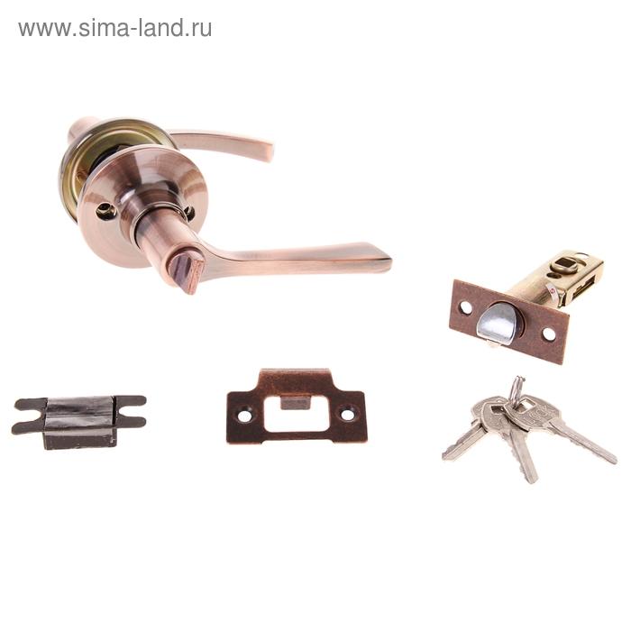Защелка (мод.3186), межкомнатная, фиксатор, 3 ключа, цвет медь