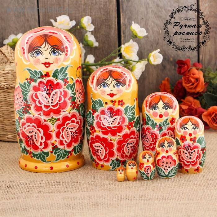 Матрёшка «Цветы», жёлтый платок, 8 кукольная, 19 см