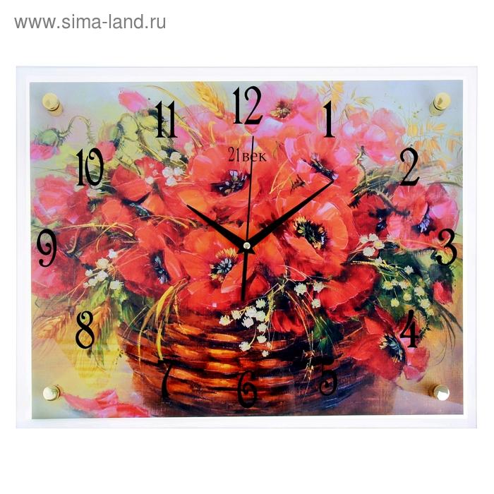 """Часы настенные прямоугольные """"Красные маки в корзинке"""", 35х45 см"""