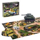 """Танковый бой """"Военная стратегия"""", на радиоуправлении, в наборе: защитные сооружения, игровые карточки и поле боя"""