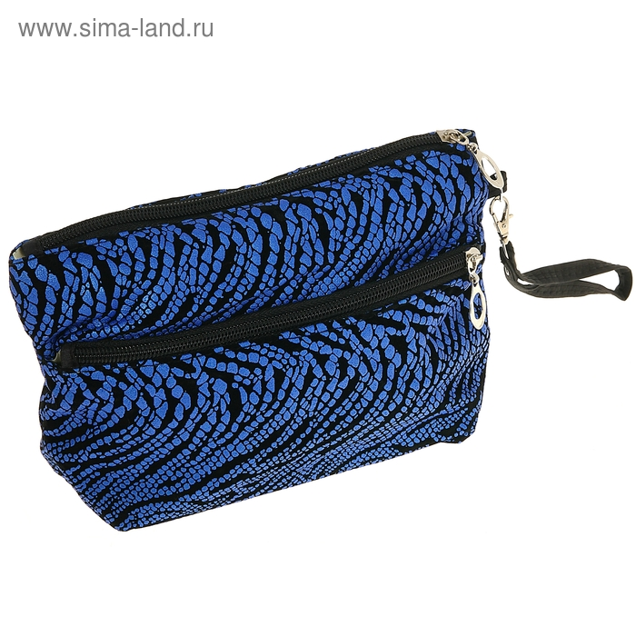 "Косметичка-сумочка ""Зебра"", 1 отдел на молнии, наружный карман, ручка, цвет синий"
