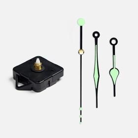 Набор в блистере: часовой механизм 3268 с подвесом, дискретный ход + комплект стрелок 69/97, чёрно-зелёные с флуоресцентным покрытием