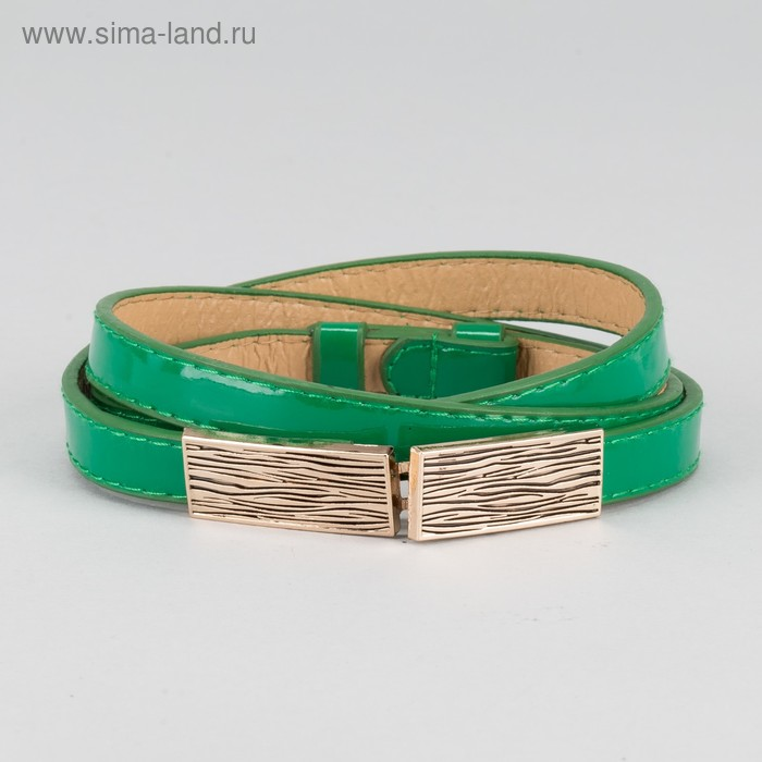 """Ремень женский """"Нири"""", пряжка-крючок под золото, с увеличением, лакированный, ширина 1см, цвет зелёный"""