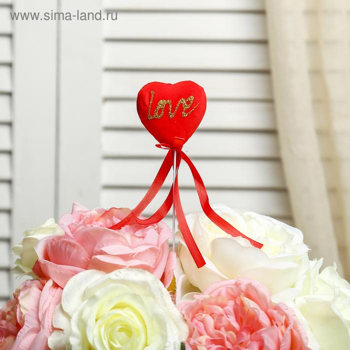 """Сердце на палочке бархатное (набор 6 шт) """"Love"""", цвет красный"""
