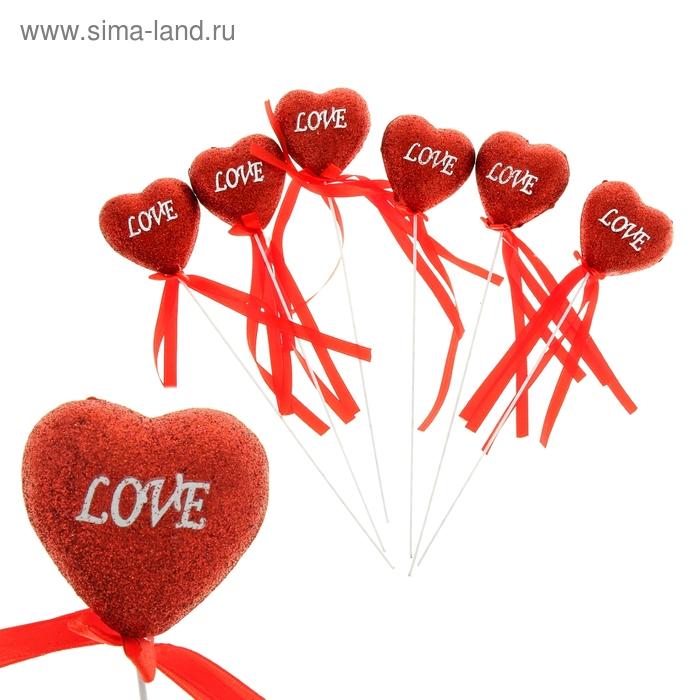 """Сердце на палочке с блёстками (набор 6 шт) """"Love"""", цвет красный"""