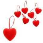 Сердце на подвеске бархатное (набор 12 шт), цвет красный
