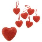 Сердце на подвеске с блёстками (набор 12 шт), цвет красный