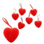 Сердце на подвеске бархатное малое (набор 6 шт), цвет красный
