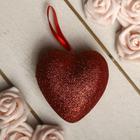 Сердце на подвеске с блёстками (набор 6 шт), цвет красный