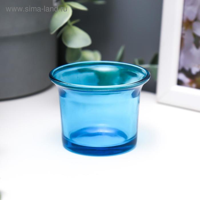 """Подсвечник """"Глянец"""", цвет голубой"""