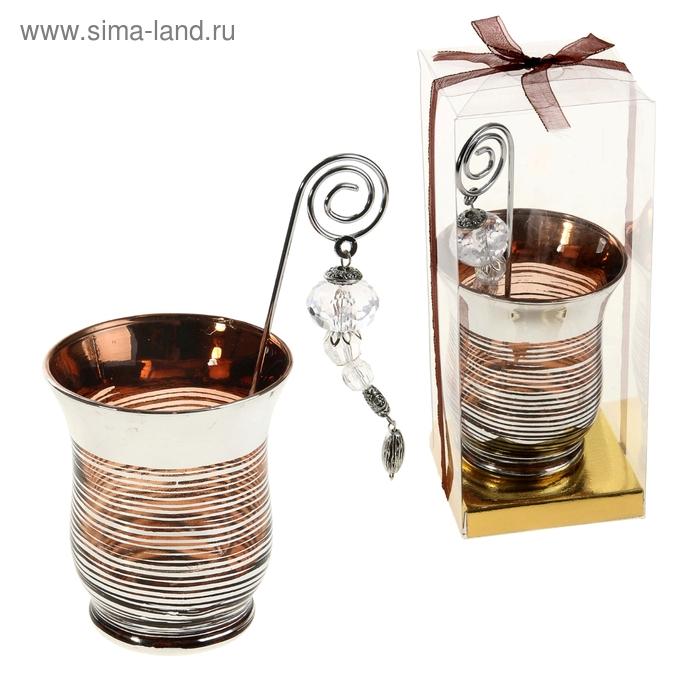 """Подсвечник с держателем для свечи """"Полосочка"""", цвет кофейный"""