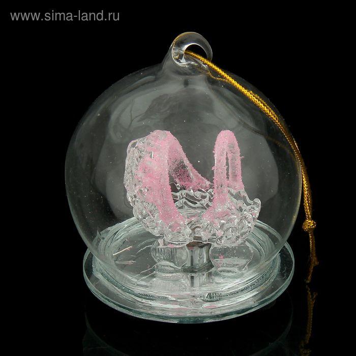 """Сувенир """"Коляска розовая в шаре"""" световой"""