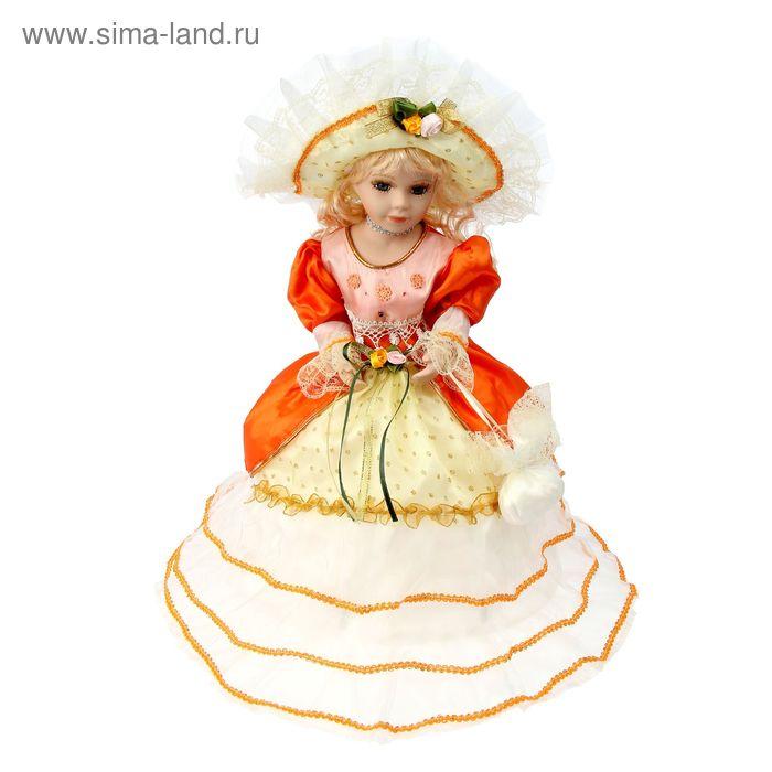 """Кукла-зонтик коллекционная """"Эсмеральда в оранжево-белом платье"""" крутящаяся, музыкальная"""