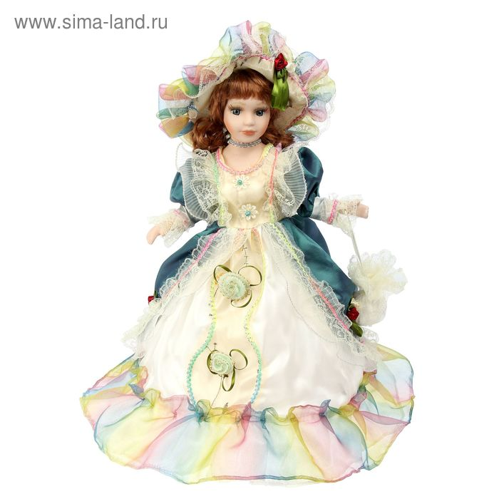 """Кукла-зонтик коллекционная """"Виктория в бело-синем платье"""" крутящаяся, музыкальная"""