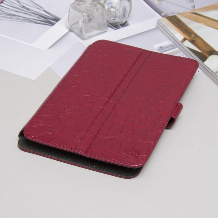 """Чехол-книжка для планшета, универсальный, 7"""", с уголками, рептилия, цвет бордовый"""