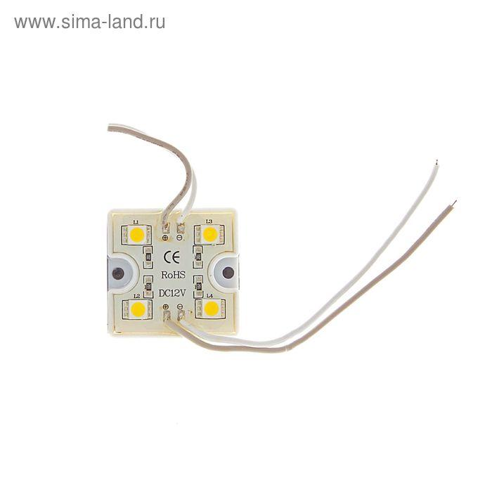 Светодиодный модуль SMD5050, 4 LED, пластик, 15-18 Lm/1LED, 1W/модуль, IP65, ТЕПЛЫЙ БЕЛЫЙ