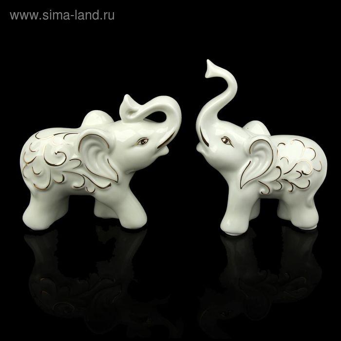 "Сувенир ""Два слоника с золотым узором"" набор 2 шт."