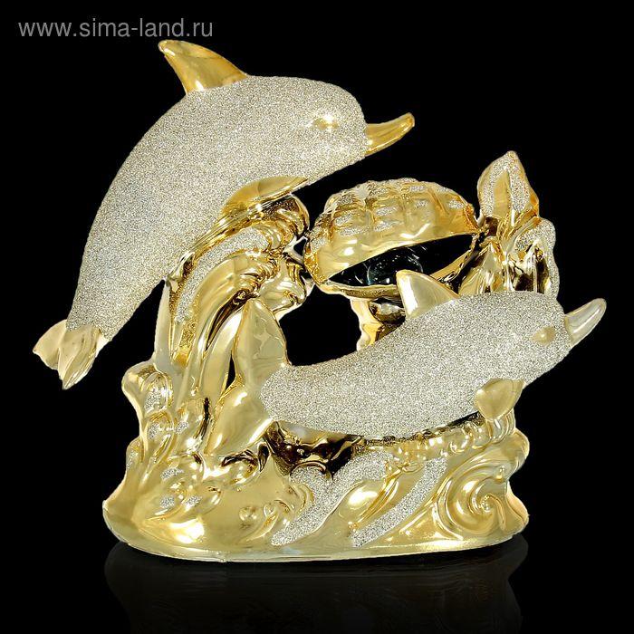 """Сувенир под золото """"Дельфины с раковиной"""""""