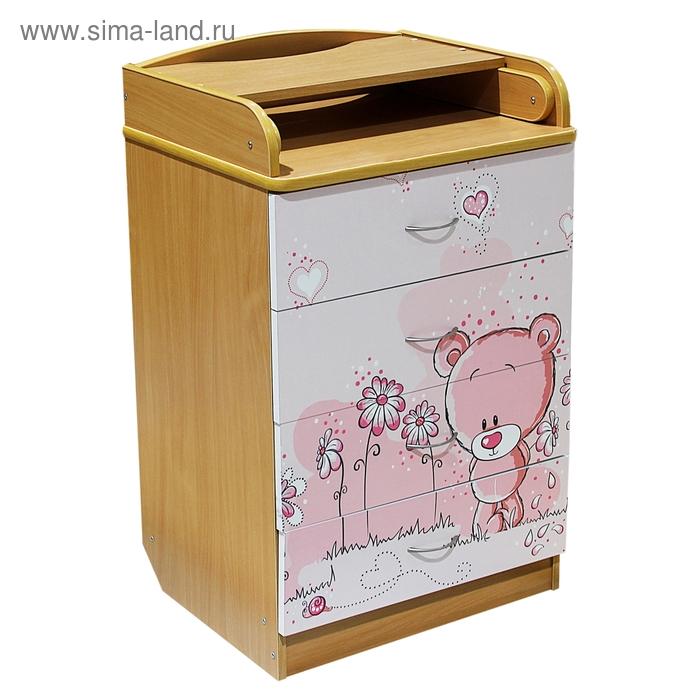 """Пеленальный комод """"Мишка"""" с рисунком, 4 выдвижных ящика, цвет бук"""