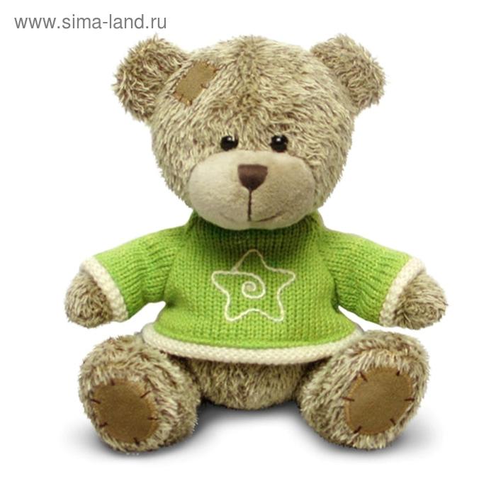 Мягкая игрушка «Медвежонок лохматый в зеленом» музыкальная