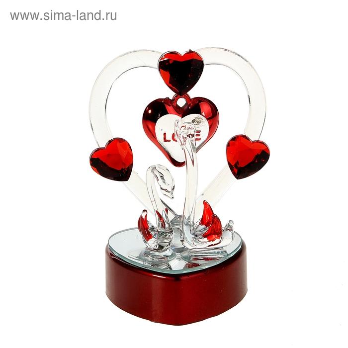 """Сувенир """"Два лебедя с кристальным сердцем"""" световой"""
