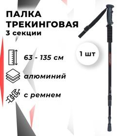 Палка для скандинавской ходьбы телескопическая, 3-х секционная, 135 см