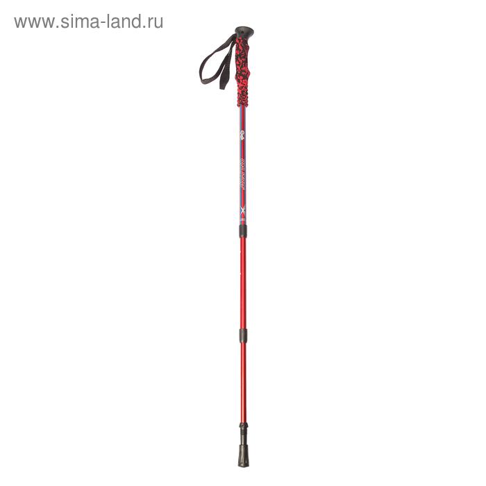 Палка для скандинавской ходьбы телескопическая, 3-х секц, алюм, до 135 см цвет красно-синий