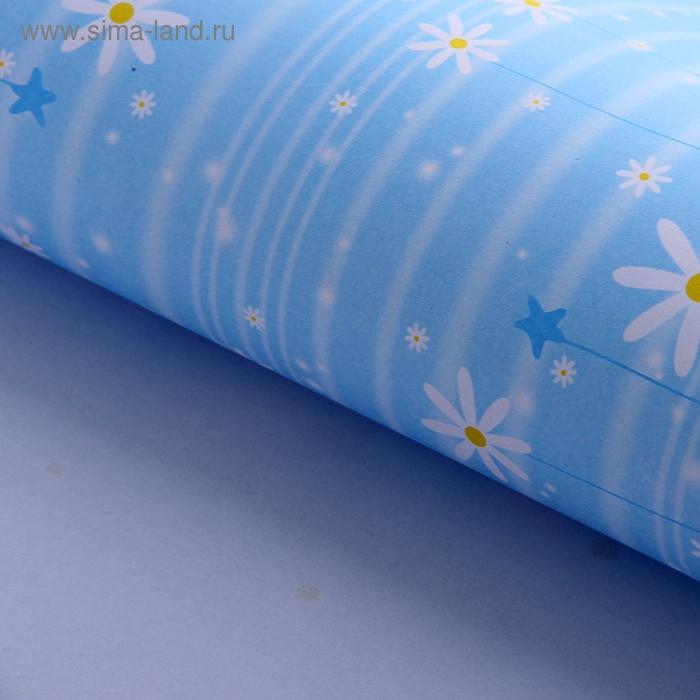 """Бумага упаковочная """"Нежные ромашки"""", цвет голубой"""