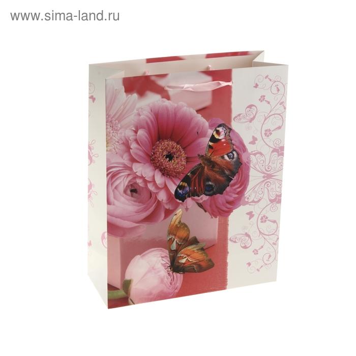 """Пакет ламинированный """"Бабочки на гербере"""""""