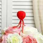 """Сердце на палочке бархатное с лентами """"Бутон розы"""", цвет красный"""