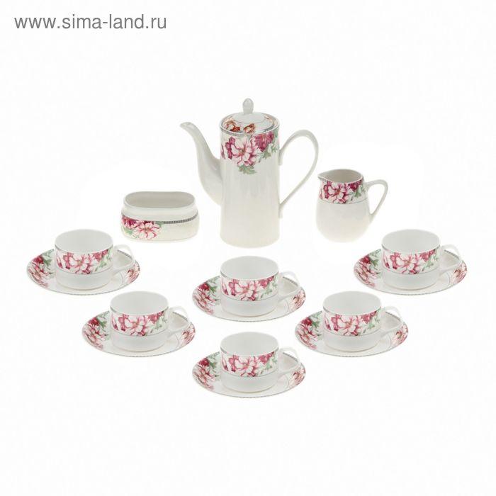 """Сервиз чайный """"Либретто"""", 15 предметов: 6 чашек 150 мл, 6 блюдец, чайник 600 мл, сахарница, молочник"""