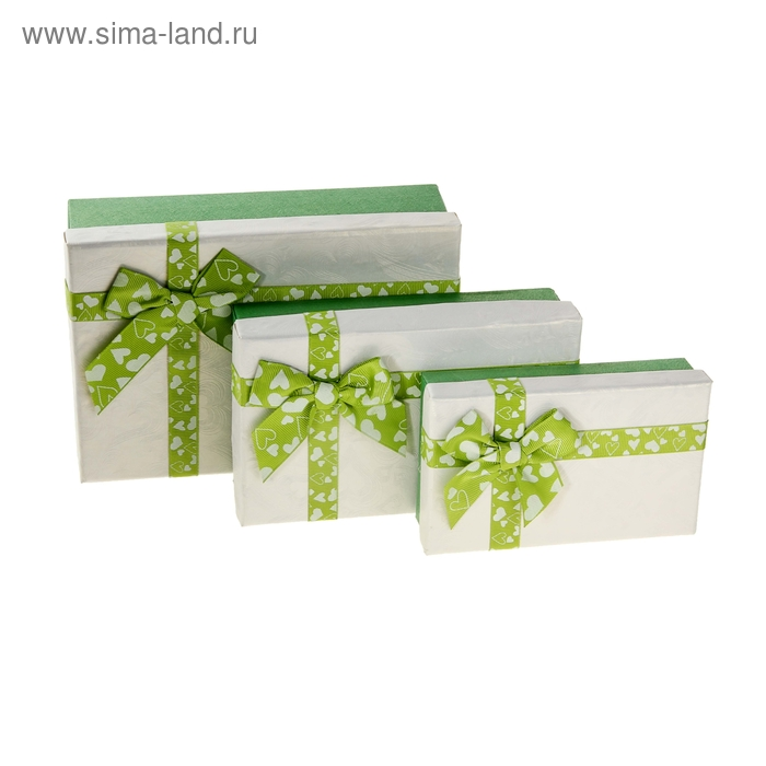 "Набор коробок 3в1 ""Любовная история"", цвет зелёный, 21 х 14 х 6 - 14,5 х 9 х 3,5 см"