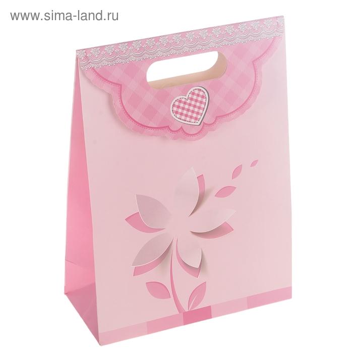 """Пакет с клапаном """"Цветок"""", цвет розовый"""