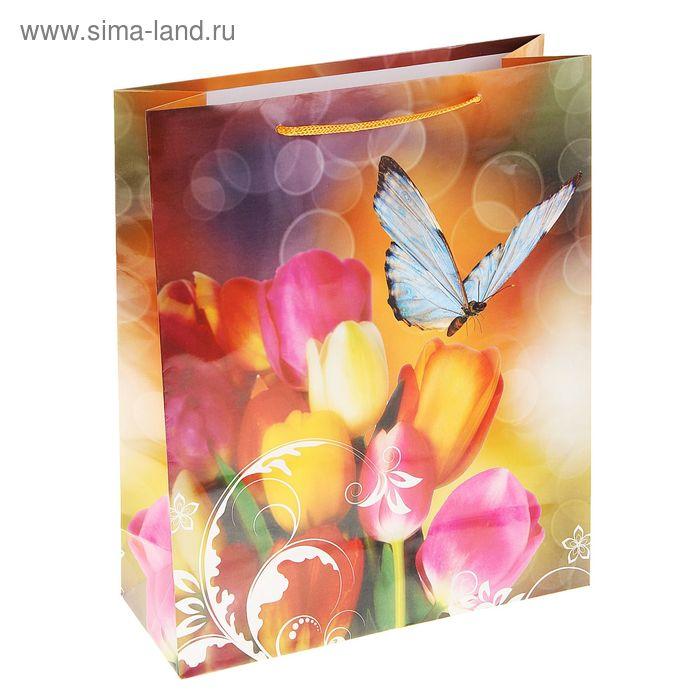"""Пакет ламинированный """"Бабочка на тюльпанах"""""""