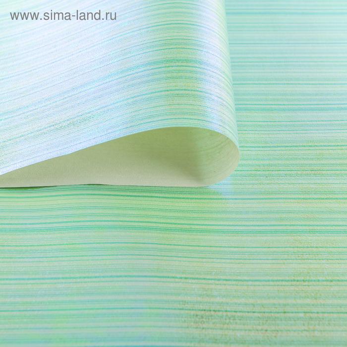 """Бумага упаковочная перламутровая """"Линии"""", цвет зелёный"""