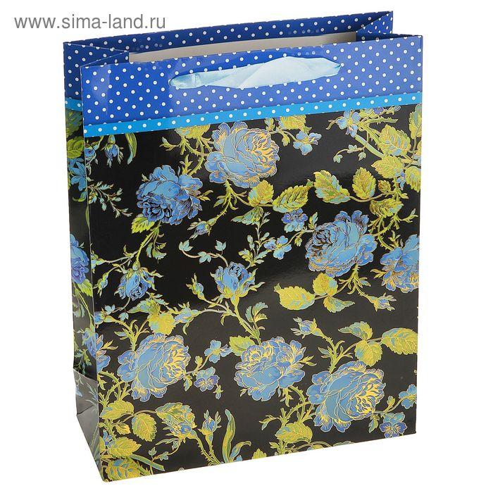 """Пакет ламинированный """"Роскошь цветов"""", цвет синий"""