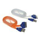 Провод для зарядки и передачи данных Luazon USB iPhone 4/4S, 1м, светящиеся смайлики, Микс