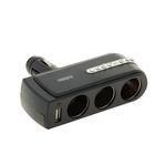 Разветвитель прикуривателя WF-0303, 3 выхода + 1 USB, чёрный