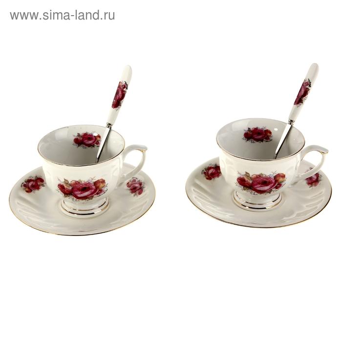 """Сервиз чайный """"Эльзас"""", 6 предметов: 2 чашки, 2 ложки, 2 блюдца"""