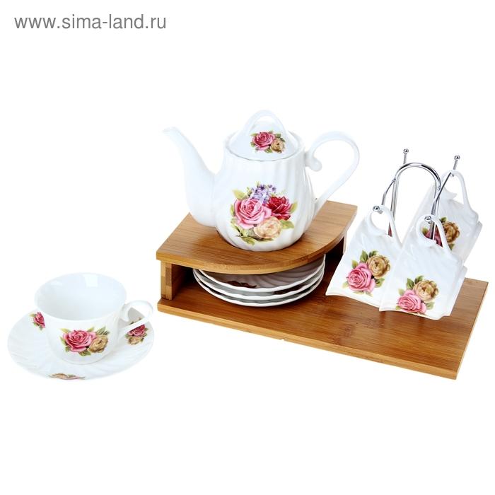 """Сервиз чайный """"Беседа"""", 9 предметов на подставке: 4 чашки, 4 блюдца, чайник 500 мл"""
