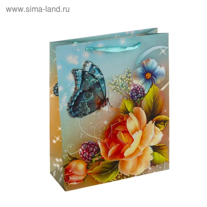 """Пакет ламинированный """"Бабочка на нежной розе"""""""