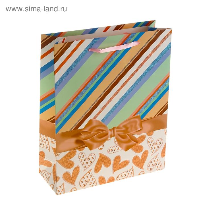 """Пакет ламинированный """"Бантик на сердцах"""", цвет оранжевый"""