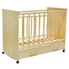 Детская кроватка «Садко» на колёсах или качалке, с ящиком, цвет клён