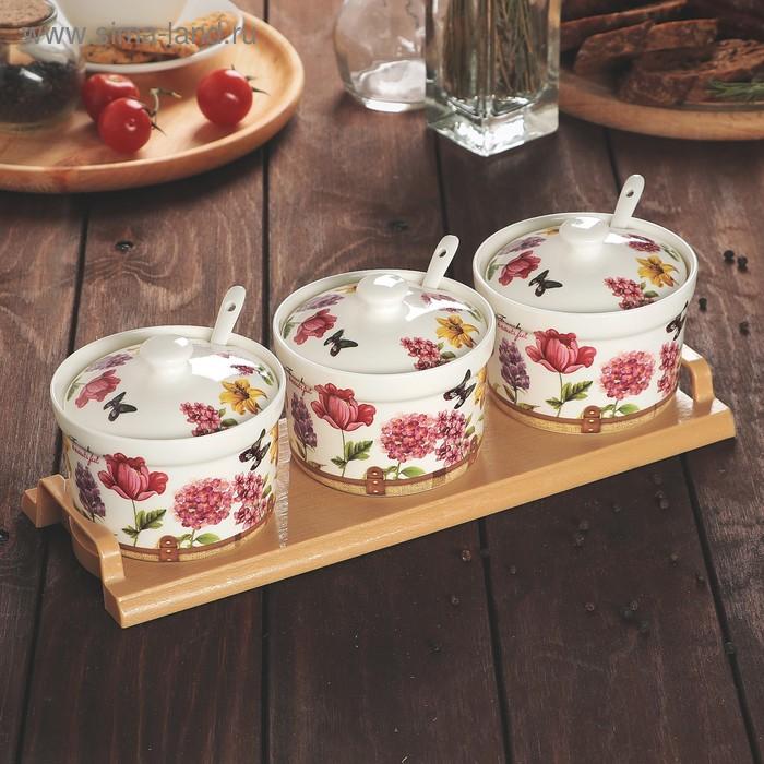 Набор банок для сыпучих продуктов 300 мл с ложками Blossom на подставке, 3 шт.