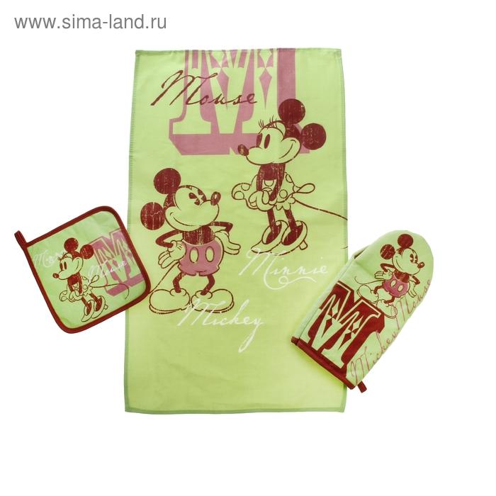 Набор Disney Mickey&Minnie: полотенце 37*62см, прихватка 18*18см, вар. 15*28см, св, хл.100%
