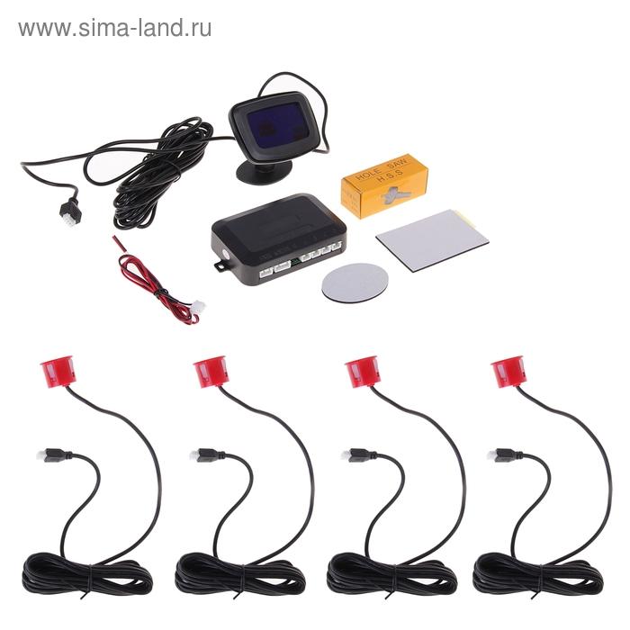 Парктроник LPS-002, 4 датчика, LСD-дисплей, биппер, 12 В, датчики красные