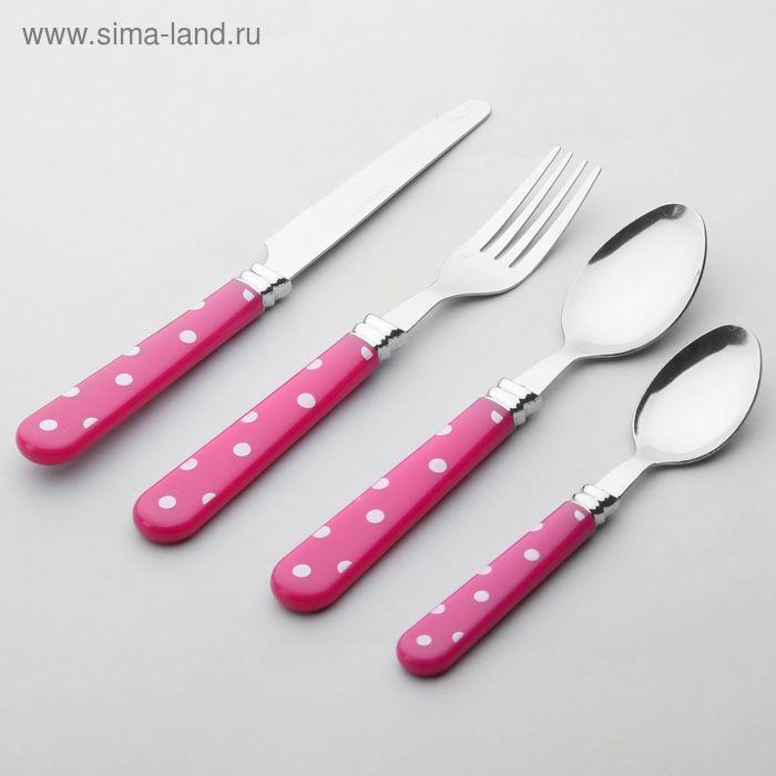 """Набор столовых приборов """"Горошек"""", 4 предмета, розовый"""