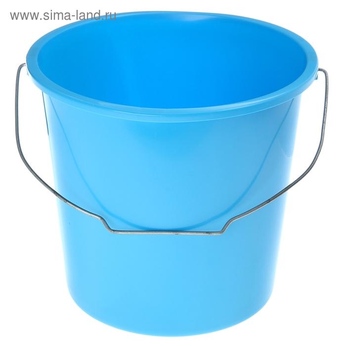 Ведро 10 л, без крышки с металлической ручкой, цвет голубая лагуна